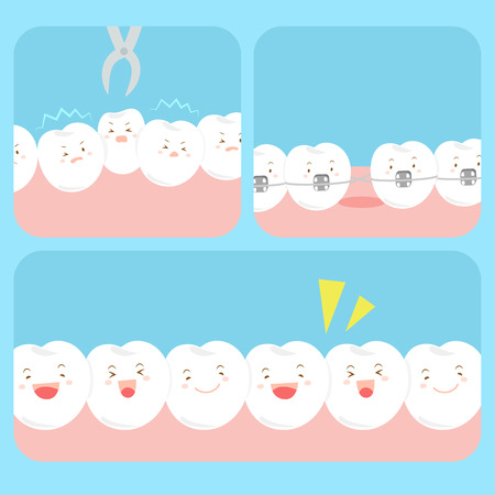 cute happy cartoon tooth with health dental care Illustration