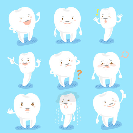 cute cartoon tooth do different emotion with blue background Illustration