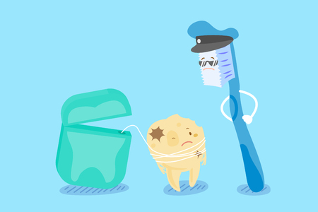 policia caricatura: cute cartoon tooth decay with floss and brush Vectores