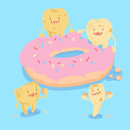 baby sick: cute cartoon tooth decay problem with donate