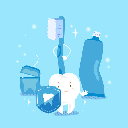 baby sick: cute cartoon tooth take shield with health concept