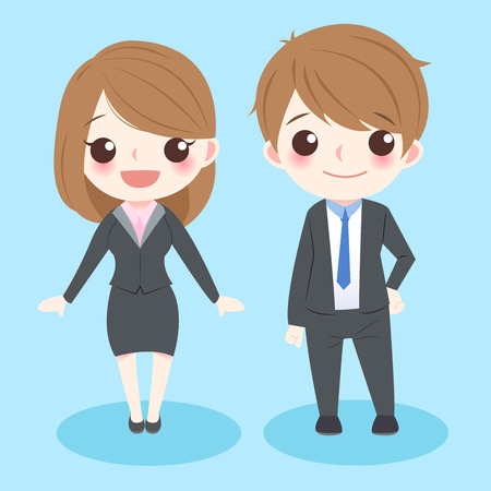 fullbody: cute cartoon business people smile to you