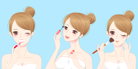 cartoon beauty skincare woman make up and smile to you