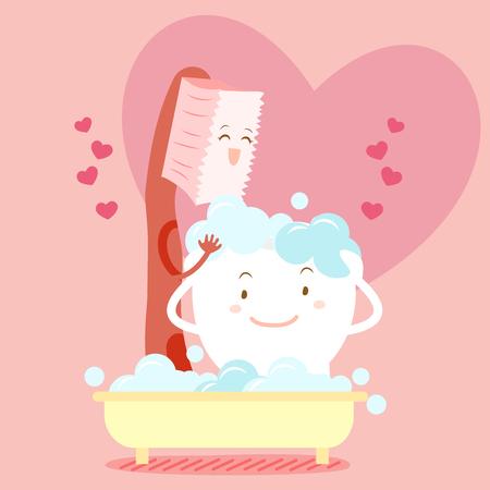 Cute dibujos animados bursh lavar el diente feliz con el corazón Ilustración de vector