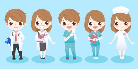 kreskówka lekarze stoją i uśmiechają się do ciebie