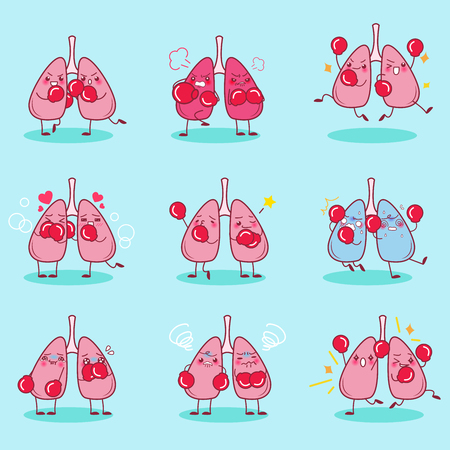 cartoon lung wear boxing do different emotion Illustration