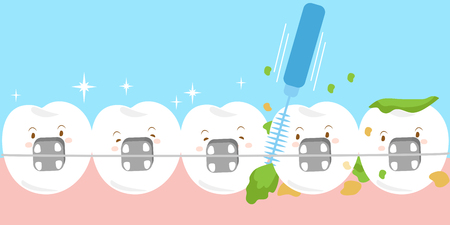cute cartoon tooth wear brace with brushes Vectores