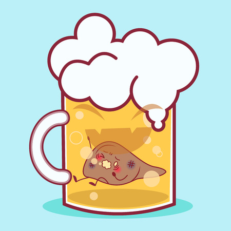 cartoon liver feel pain in the beer