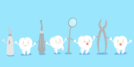 Cute cartoon tooth smile happily with tool Illustration