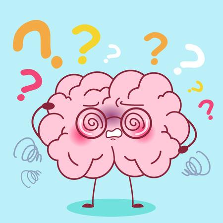 cute cartoon brain feel confuse with amnesia