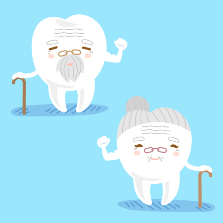 cartoon old tooth couple use crutch and show strong