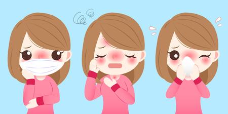 Une fille de dessin animé mignonne se froid et se sent mal à l'aise