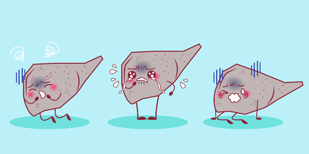 Cartoon liver feel sad with cirrhosis problem Illustration