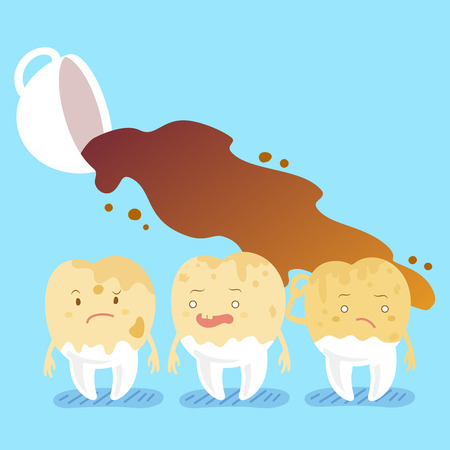 Cute cartoon tooth decay feel bad with coffee Illustration