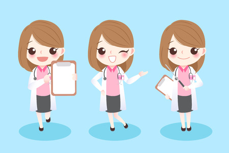Cute cartoon woman dentist show something to you Illustration