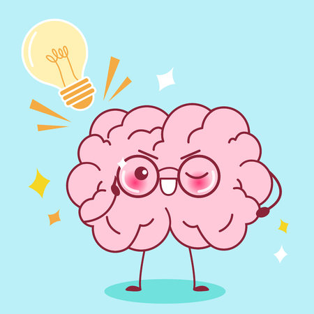 Cute cartoon smart brain with blue background