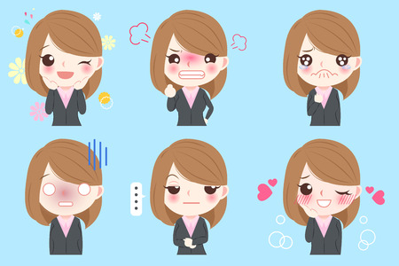 Cartoon business woman do different emotions with blue background Vettoriali