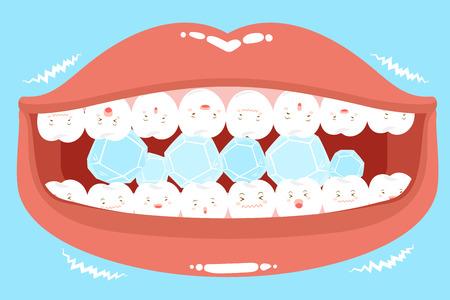 Les dents de dessins mignons se sentent mal avec un problème délicat