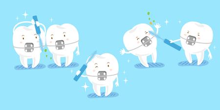 Niedliche Cartoon Zahn Verschleiß Klammer mit Bürsten