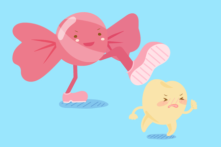 Cartoon tooth decay feel afraid with candy