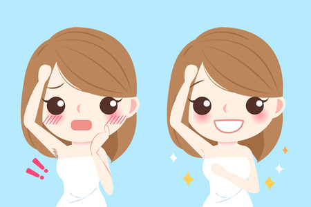 Cute cartoon woman with epilator before and after Çizim