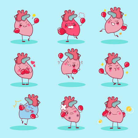 cartoon heart wear boxing do different emotion