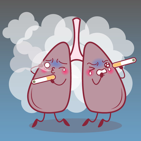 Cartoon lung feel scare and cry with smoke