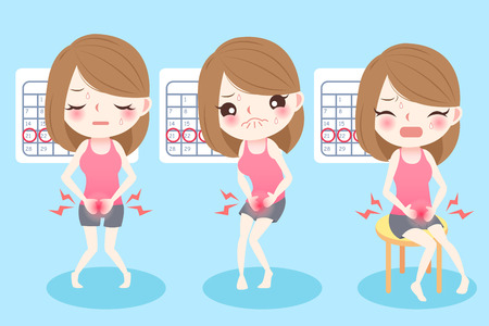 Cute cartoon woman feel uncomfortable with menstruation Vettoriali