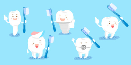 cute cartoon tooth take brush and thumb up