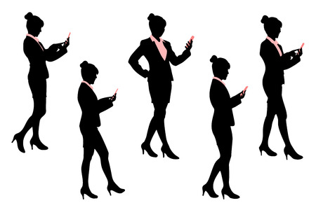 woman cellphone: Silhouette of business woman with white background