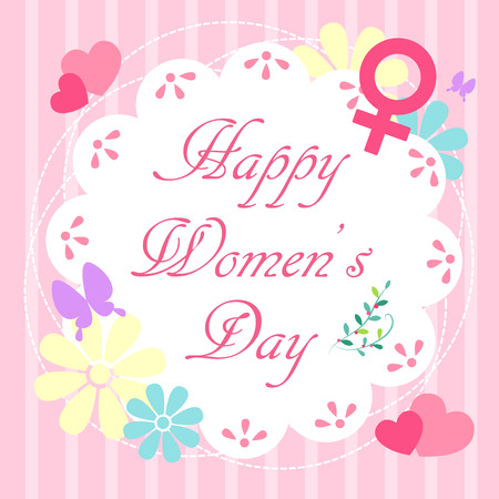 happy: Cute cartoon card with happy womens day