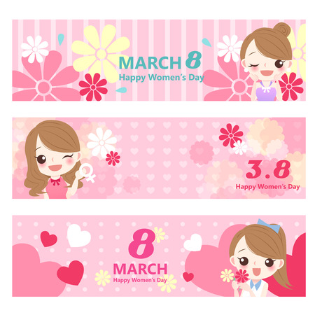 happy: Cute cartoon girl with happy womens day Illustration