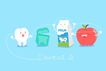 cute cartoon tooth with milk and apple for your healthy concept Illustration