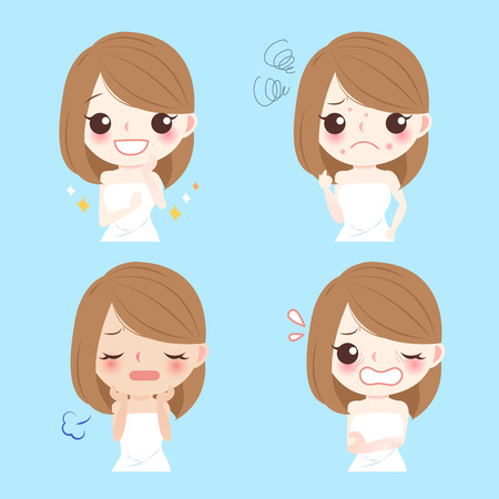 Cute cartoon woman with face problem for your concept