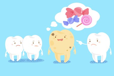 decay: Cute cartoon health tooth with decay problem