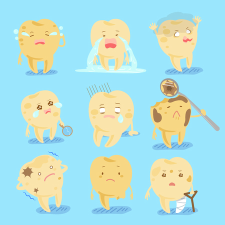 dolor de muelas: Cute cartoon tooth with decay problem for your health concept
