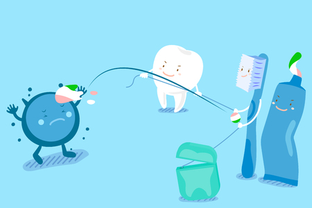 Cute cartoon tooth and brush with health concept