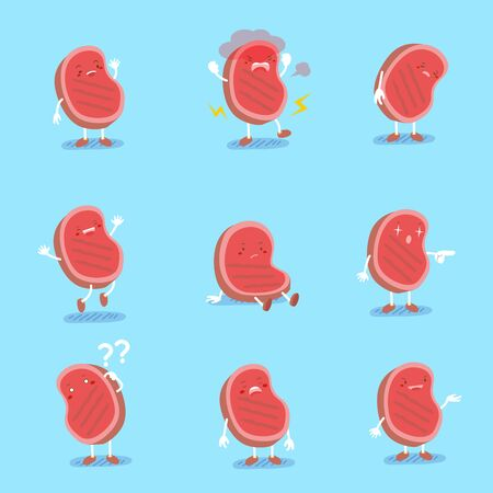 cute cartoon meat do different emotions with blue background
