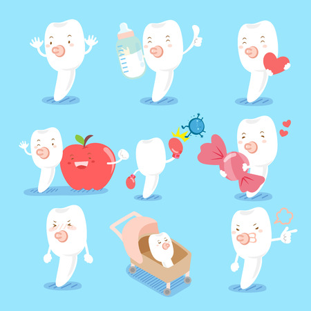 Cartoon milk tooth do different emotions for your health concept