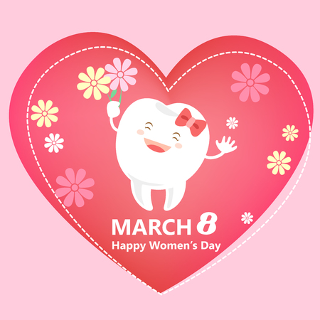 cute cartoon tooth with happy womens day Illustration