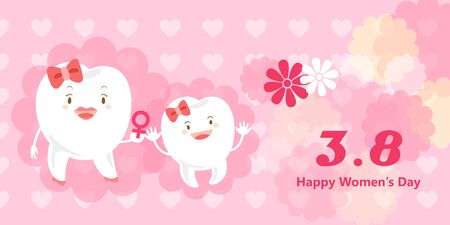 happy: cute cartoon tooth with happy womens day Illustration