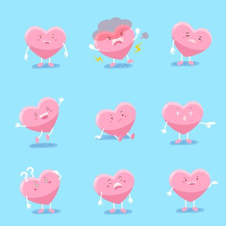 cute cartoon heart do different emotions with blue background