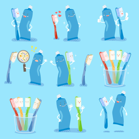 cartoon tooth bursh and paste do different gesture