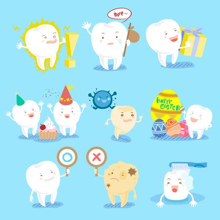 Cite cartoon tooth do different emotions.