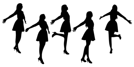 fullbody: Silhouette of woman feel free with white background