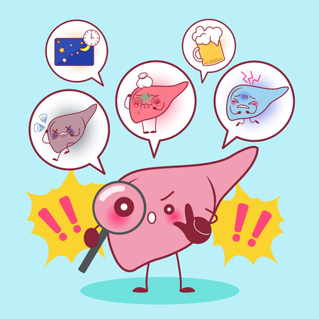cute cartonn liver with health problem concept Illustration