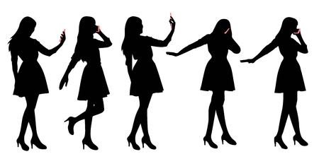 woman cellphone: silhouette of woman use phone with white background Illustration