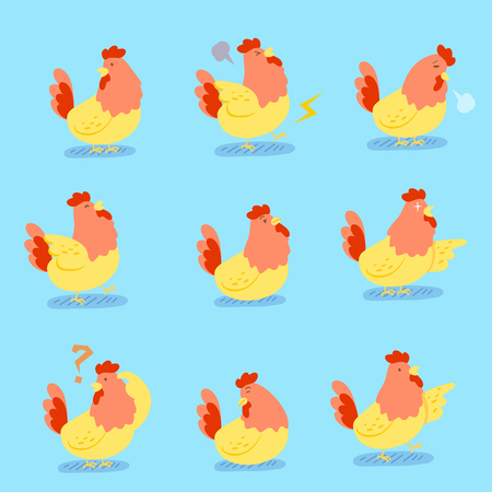 Cute cartoon chicken do different emotions with blue background