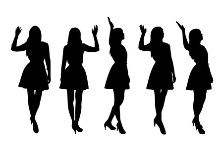 women body: Silhouette of woman pray with white background