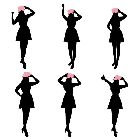 introduce: Silhouette of woman wear vr and show something